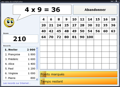 Le jeu pc multiplication tables de multiplication - Table de multiplication en ligne ...